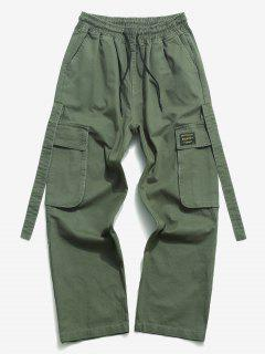 Drawstring Letter Applique Casual Cargo Pants - Army Green L