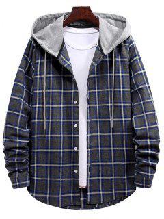 タータンチェック柄ボタン付きフード付きシャツ - カデブルー M