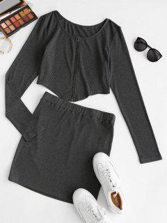 ZAFUL Front Zip Irregular Two Piece Bodycon Dress - Dark Slate Grey S