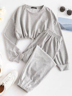 Crop Sweatshirt And Joggers Tracksuit - Gray S