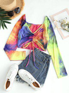 ZAFUL Tie Dye Cinched Crop T Shirt - Purple S