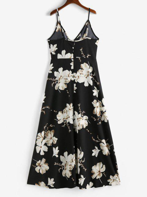 hot ZAFUL Flower Slit Maxi Surplice Dress - BLACK S Mobile