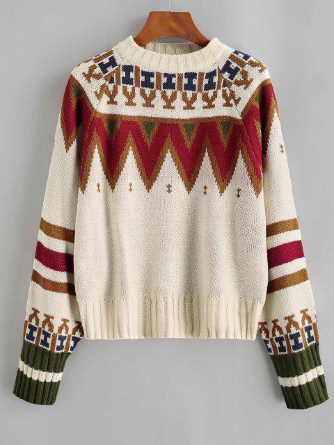best Crew Neck Raglan Sleeve Geometric Graphic Sweater - LIGHT COFFEE ONE SIZE Mobile