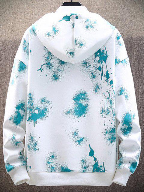 fashion Paint Splatter Print Drawstring Hoodie - WHITE XS Mobile