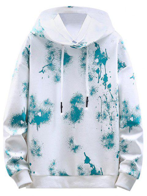 online Paint Splatter Print Drawstring Hoodie - WHITE L Mobile