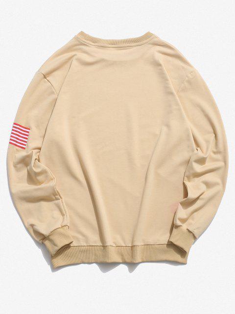 buy American Flag Letter Print Rib-knit Trim Sweatshirt - LIGHT YELLOW 2XL Mobile