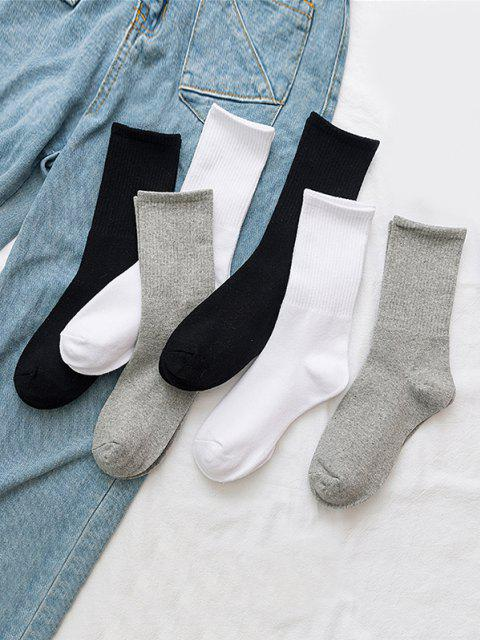 fancy 3 Pairs Solid Crew Socks Set - MULTI-A  Mobile