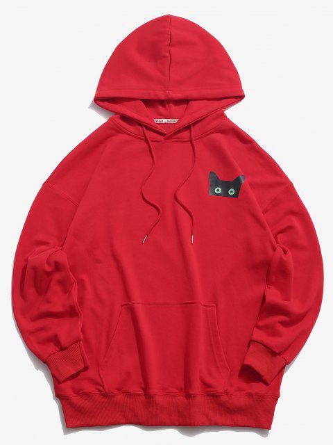 outfit Cartoon Cat Graphic Pouch Pocket Drawstring Hoodie - RED 2XL Mobile