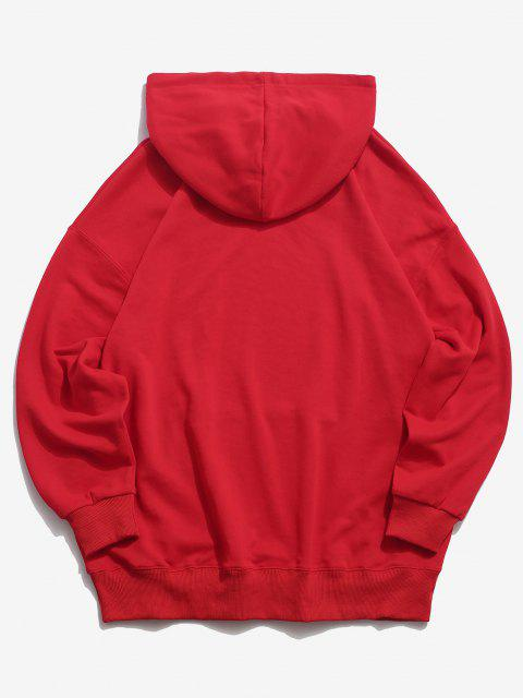 lady Cartoon Cat Graphic Pouch Pocket Drawstring Hoodie - RED 3XL Mobile