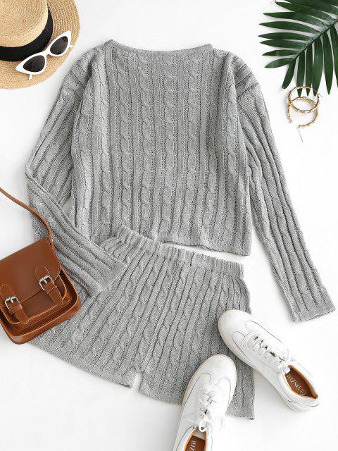 online Crew Neck Solid Cable Knit Two Piece Set - BATTLESHIP GRAY XL Mobile