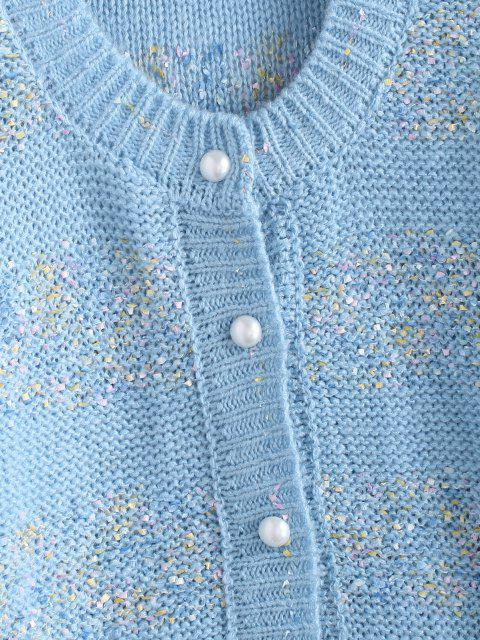 affordable Button Up Confetti Loose Cardigan - LIGHT BLUE ONE SIZE Mobile