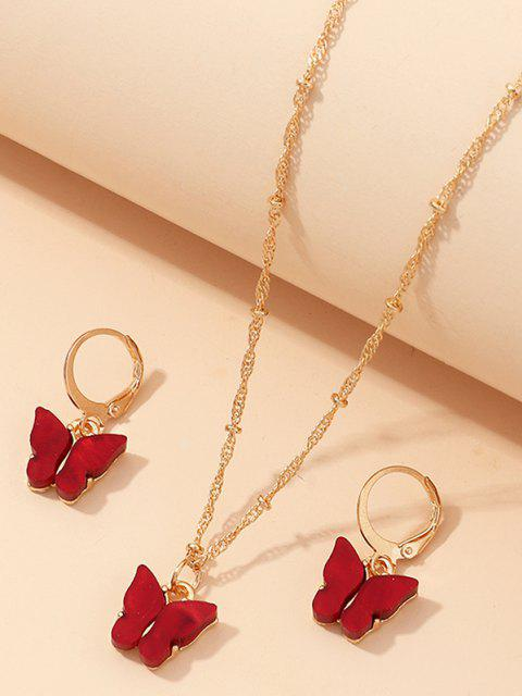 trendy Butterfly Acrylic Earrings Necklace Set - RED WINE  Mobile
