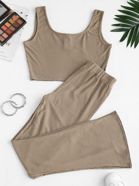 women Two Piece Ribbed Button Front Flare Pants Set - WOOD L Mobile