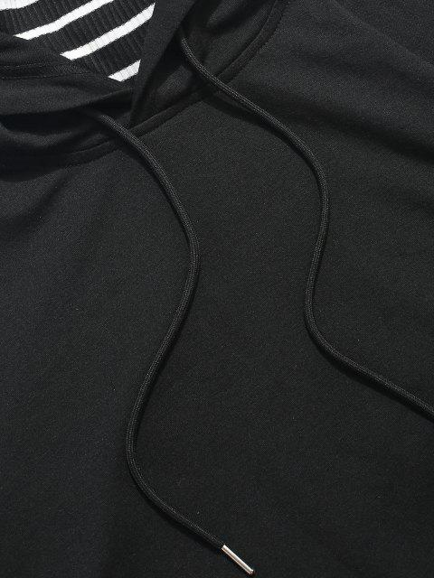 ZAFUL Sweat à Capuche Visage Rayé avec Poche Kangourou - Noir S Mobile