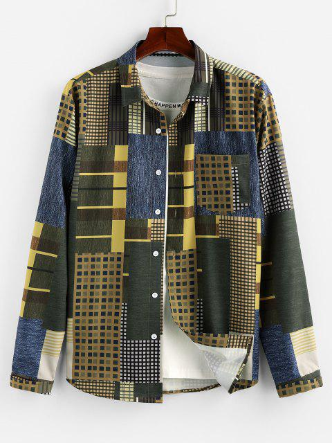 ZAFUL Geometric Pattern Pocket Button Up Shirt - متعدد 2XL Mobile
