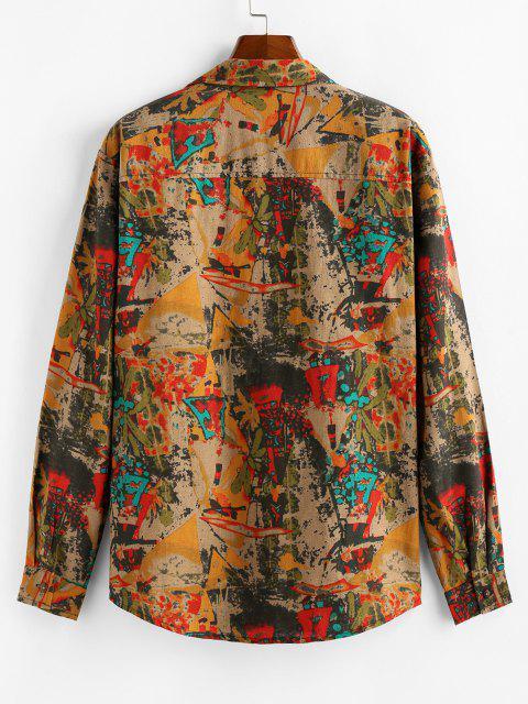 womens ZAFUL Retro Print Long Sleeve Shirt - COFFEE 2XL Mobile
