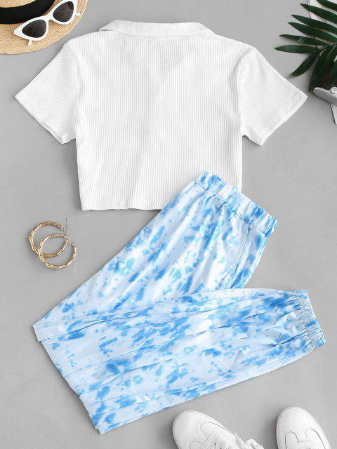 fashion Button Front Ribbed Tie Dye Two Piece Set - LIGHT BLUE XL Mobile