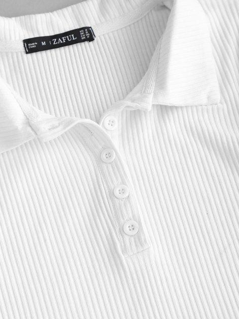 Gerippte Krawattenfärbendes Zweiteiler Set mit Knopfleiste - Hellblau S Mobile