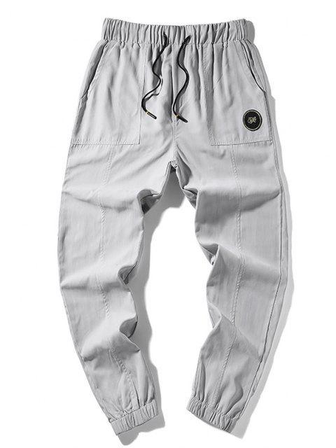 Pantalones Trotar Casual Applique Letras - Blanco XS Mobile