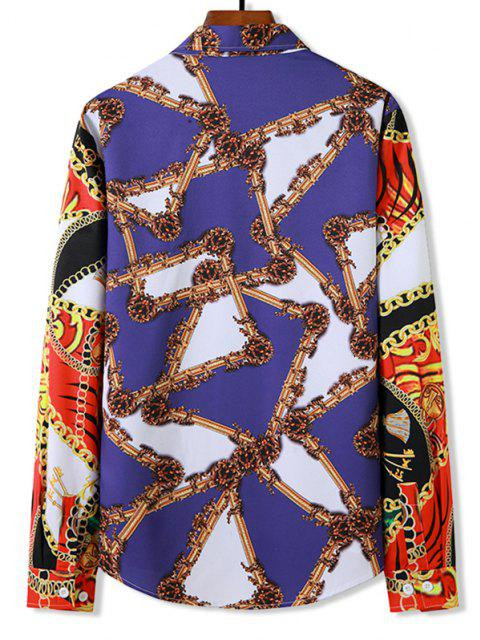 buy Chain Pattern Block Button Up Leisure Shirt - MULTI S Mobile
