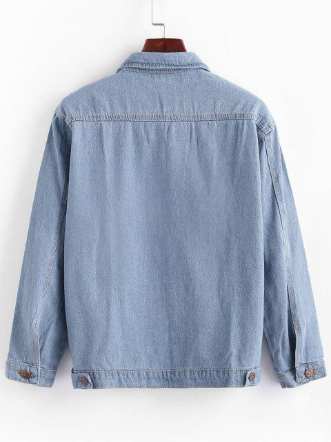 best Button Up Ladder Pockets Denim Jacket - JEANS BLUE M Mobile