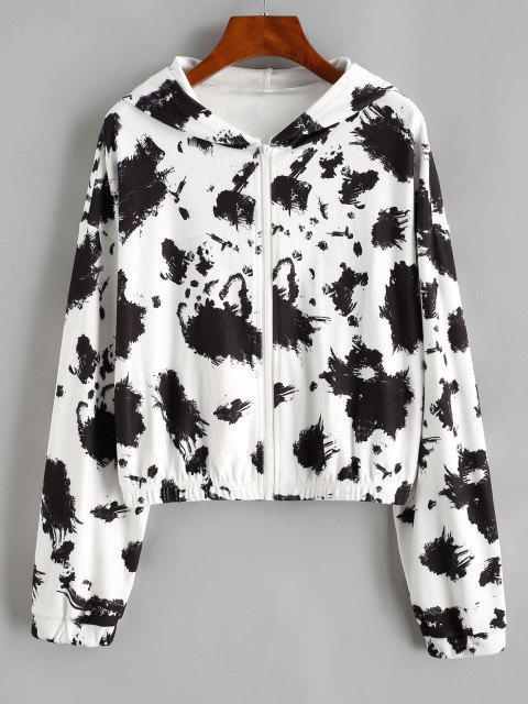 Hooded Fleece Drop Shoulder Splatter Ink Jacket - أسود S Mobile