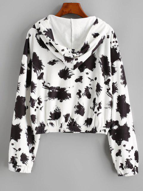 womens Hooded Fleece Drop Shoulder Splatter Ink Jacket - BLACK L Mobile