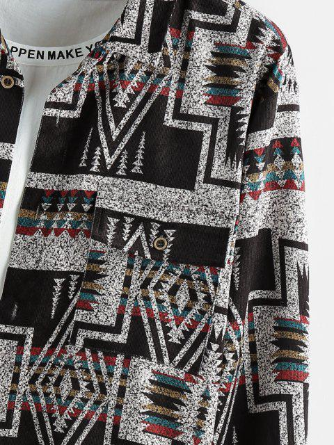 outfit ZAFUL Geometric Striped Pattern Pocket Long Sleeve Shirt - MULTI 2XL Mobile