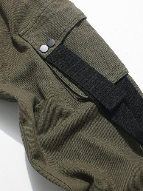 Pantalones Casual Aplique Letras Contraste y Cordones - Ejercito Verde L Mobile