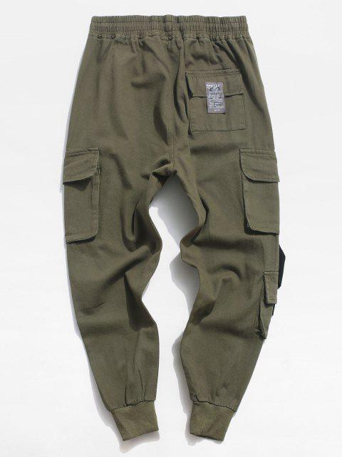 Pantalones Casual Aplique Letras Contraste y Cordones - Ejercito Verde S Mobile