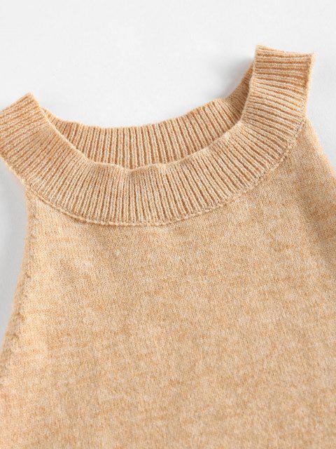 fashion ZAFUL Cutaway Knitted Bodycon Skirt Set - LIGHT COFFEE XL Mobile
