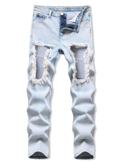womens Acid Wash Frayed Cut Out Tapered Jeans - LIGHT BLUE 32 Mobile