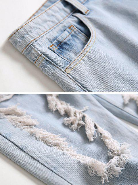 new Acid Wash Frayed Cut Out Tapered Jeans - LIGHT BLUE 38 Mobile