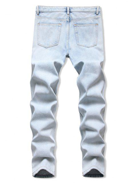 outfit Acid Wash Frayed Cut Out Tapered Jeans - LIGHT BLUE 34 Mobile
