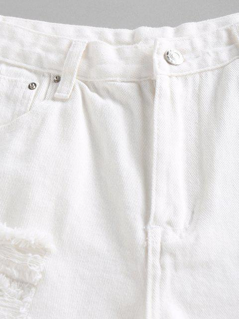 shops Ripped Frayed Denim Shorts - WHITE M Mobile