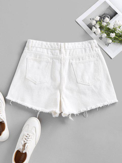 ladies Ripped Frayed Denim Shorts - WHITE L Mobile