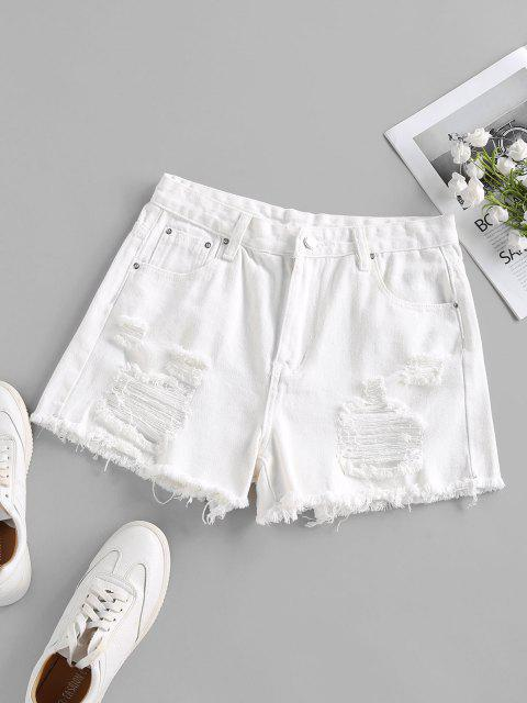 shop Ripped Frayed Denim Shorts - WHITE S Mobile