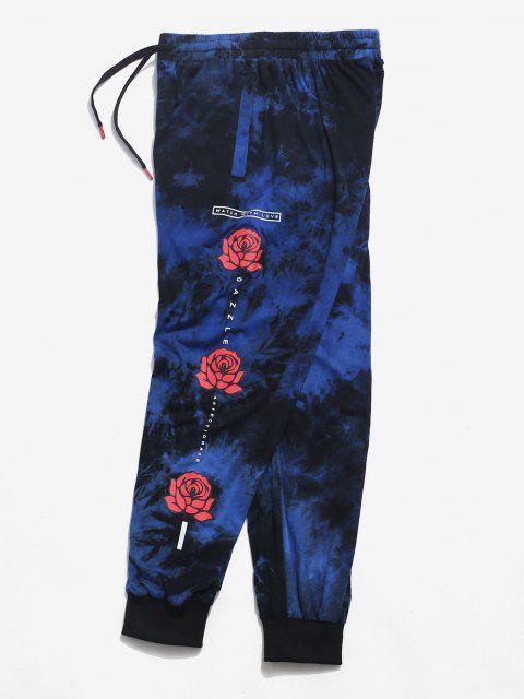 Pantalones Casuales de Estampado de Flores de Tie Dye - Azul XL Mobile
