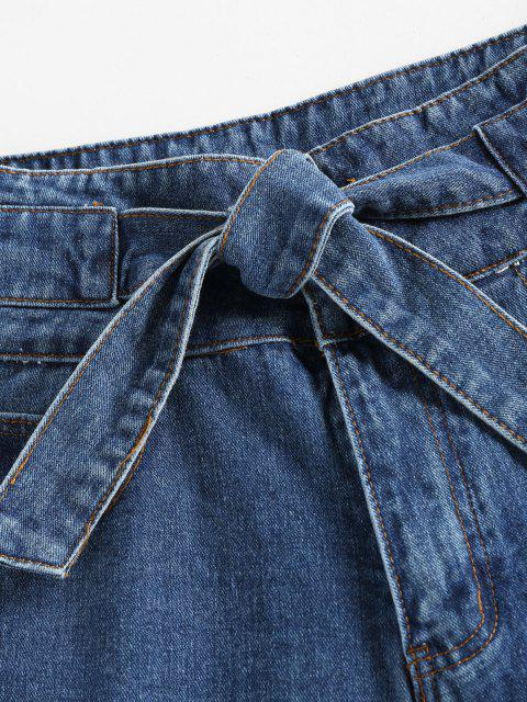 affordable Cuffed Tie Front Denim Shorts - BLUE L Mobile