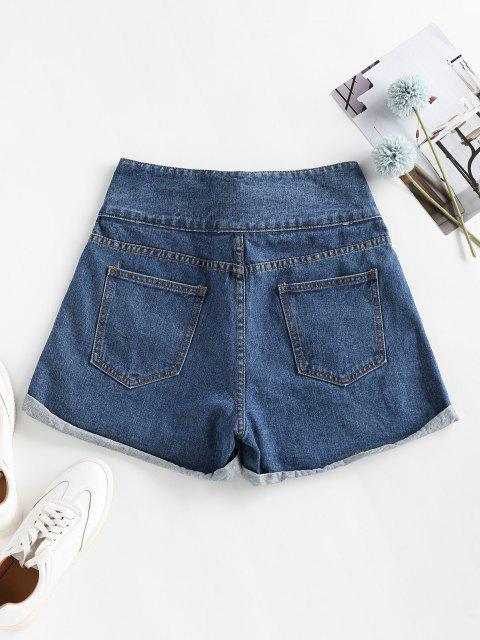 womens Cuffed Tie Front Denim Shorts - BLUE M Mobile