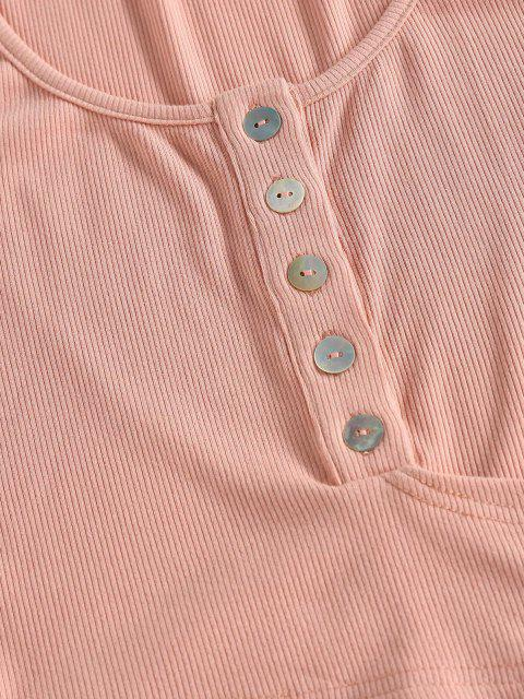 fashion ZAFUL Button Up Ribbed Wrap Around Tank Top - KHAKI ROSE M Mobile