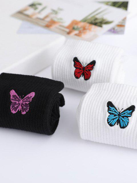 hot 3 Pairs Butterfly Embroidery Crew Socks Set - MULTI-A  Mobile