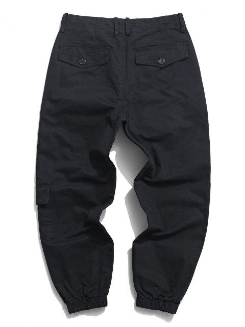 Pantalones de Carga con Estampado de Letras con Bolsillos - Negro XS Mobile