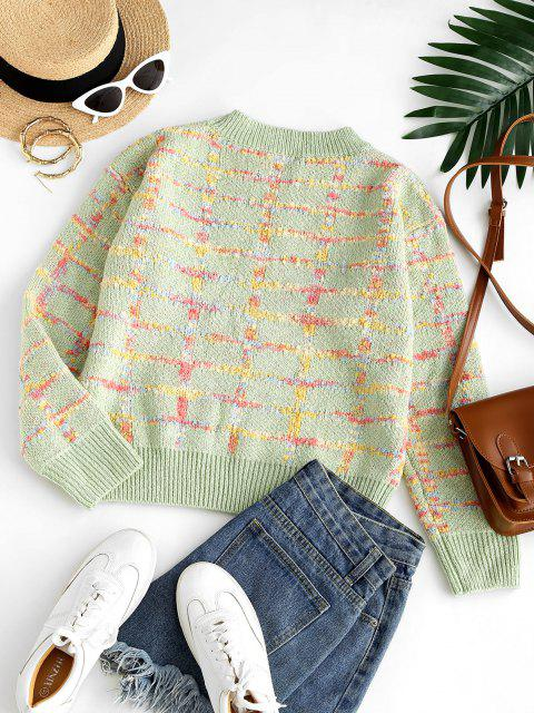 women Crew Neck Checked Boucle Knit Sweater - LIGHT GREEN ONE SIZE Mobile