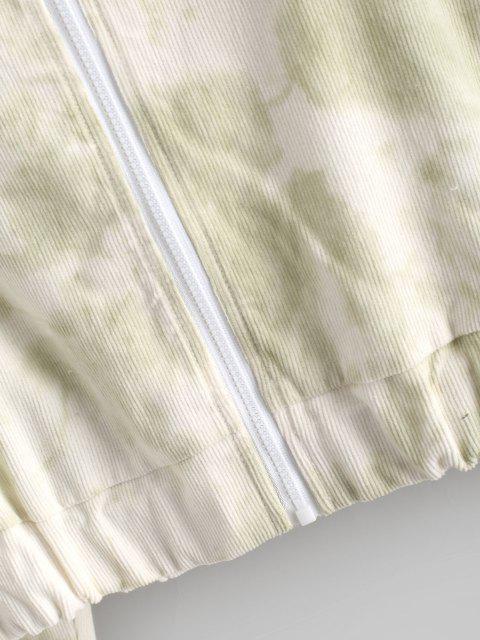 shops Tie Dye Zip Corduroy Hooded Jacket - LIGHT GREEN L Mobile