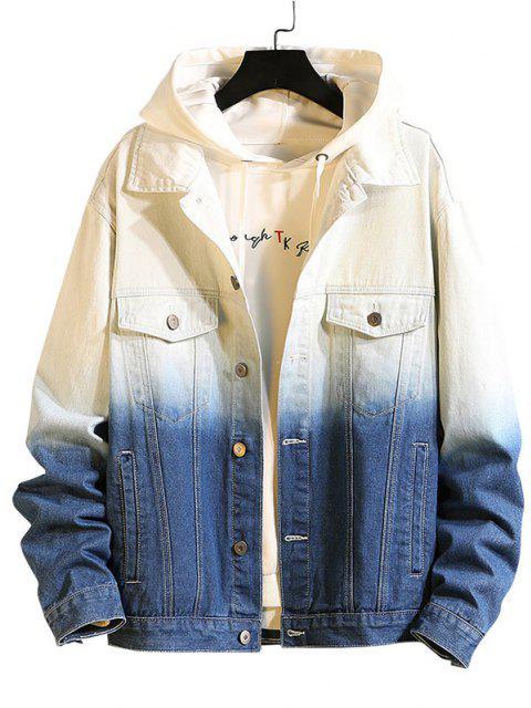 Ombre Print Flap Pocket Denim Jacket - الحرير الأزرق 2XL Mobile