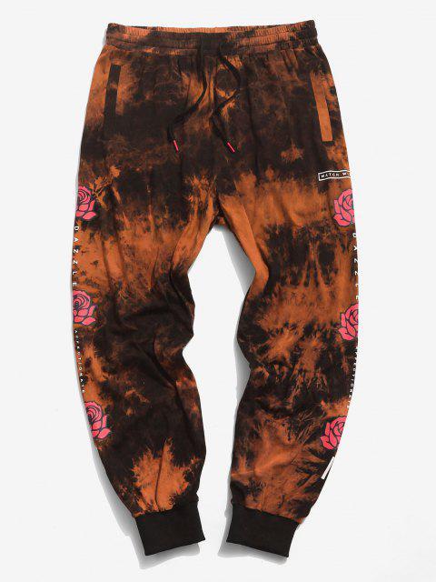 Pantalones Casuales de Estampado de Flores de Tie Dye - Naranja M Mobile