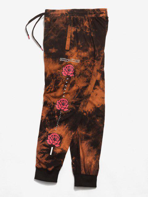 Pantalones Casuales de Estampado de Flores de Tie Dye - Naranja 2XL Mobile