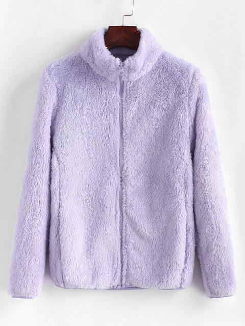 High Neck Zip Up Fluffy Coat - خبازي XL Mobile