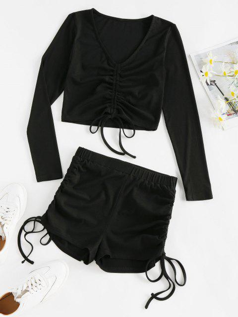 women's ZAFUL Ribbed Cinched High Waisted Shorts Set - BLACK M Mobile